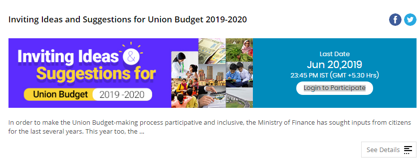 Pre budget 2019 Suggestions