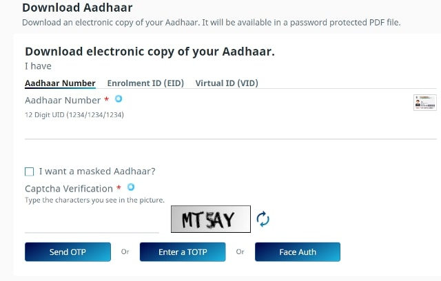 Download Aadhaar Card S