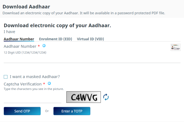 Download Aadhar Card
