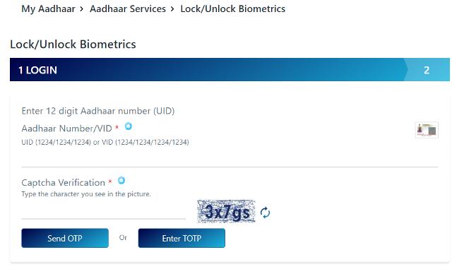 Lock/Unlock Aadhaar Biometric Details