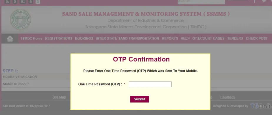 OTP Verification For Online Sand Booking Telangana