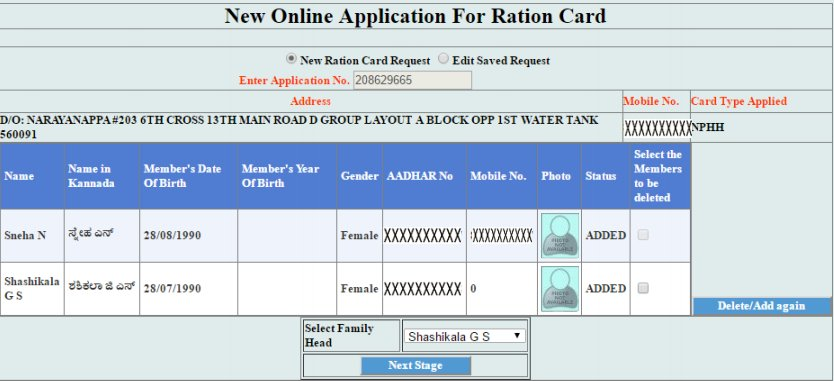 Karnataka Ration Card Application
