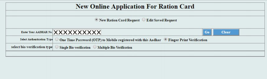 New Ration Application