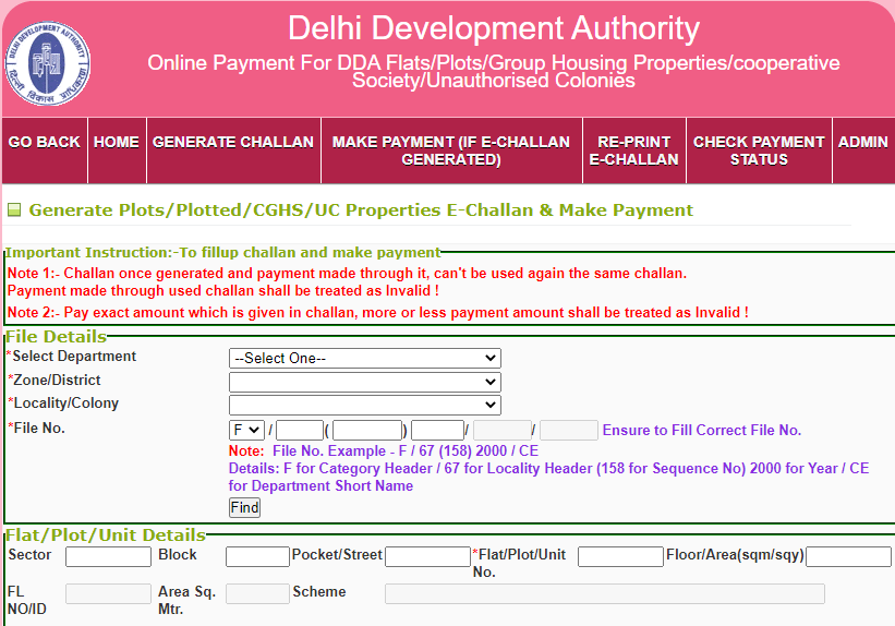Generate Plots/Plotted/CGHS/UC Properties E-Challan & Make Payment
